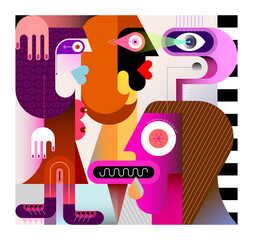 Desire. A man lustfully looks at two beautiful sexy women. Modern art vector illustration.