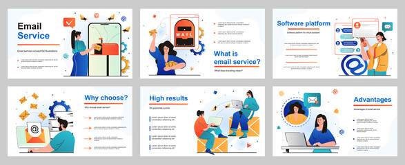Obraz Email service concept for presentation slide template. People sending and receiving letters, advertising or newsletter mails. Online correspondence applications. Vector illustration for layout design - fototapety do salonu