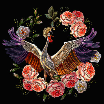 Embroidery crane bird and ring of roses flowers. Template for design of clothes, tapestry. Fashion spring garden style