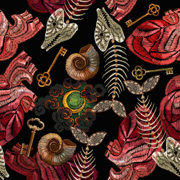 Golden vintage keys, anatomical human heart, moon and ammonite fossil seamless pattern. Embroidery art. Romantic gothic background. Love story concept. Template fashionable clothes, t-shirt design