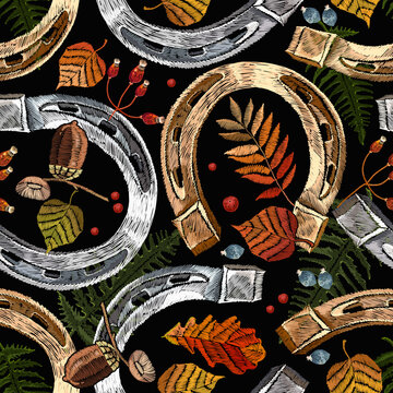 Embroidery golden and silver horseshoes and autumn leaves seamless pattern. Template for design of clothes, tapestry. Fall forest concept. Fashion art