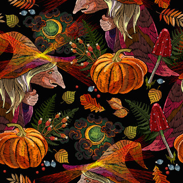 Witch wearing hat. Halloween pattern. Forest sorceress, orange pumpkins, autumn leaves, moon and fly agarics. Romantic dark gothic fairy tale art. Embroidery background. Fashion template for clothes