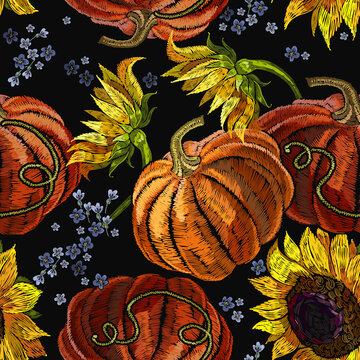 Orange pumpkin and yellow sunflowers flowers . Embroidery seamless pattern. Halloween gothic background. Template for clothes, t-shirt design