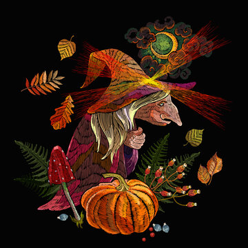 Old witch wearing hat. Halloween background. Forest sorceress, orange pumpkins, autumn leaves, moon and fly agarics. Witchcraft. Romantic dark gothic fairy tale art. Embroidery style