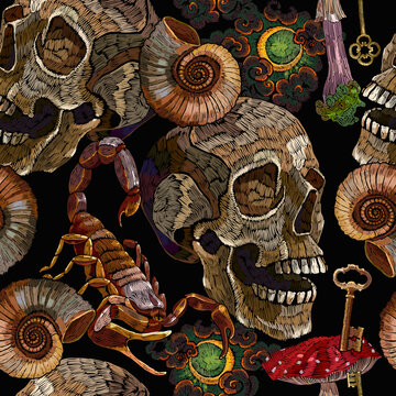 Embroidery style. Halloween background. Ammonite fossil, moon, scorpion, golden keys and skull. Dark gothic fairy tale concept. Template for clothes, print. Seamless pattern