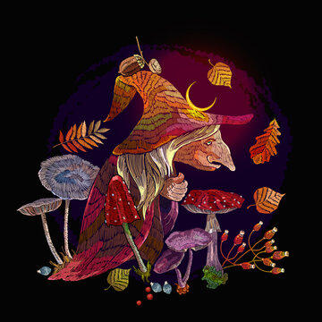 Old witch in hat. Forest sorceress, autumn leaves, fly agaric. Witchcraft style. Halloween background. Dark gothic fairy tale art. Embroidery style. Template fashionable clothes, t-shirt design