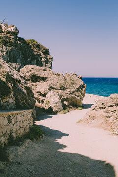 Islands Ocean View on rocks and cliffs. Summer textures.