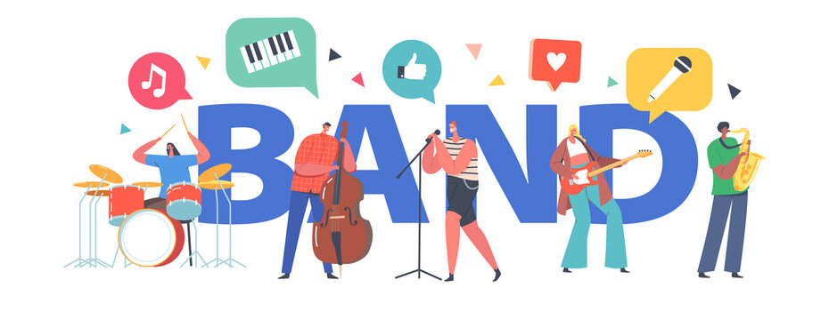 Music Band Concept. Artists with Musical Instruments Singing Rock Song, Guitar, Contrabass and Sax Player Accompany