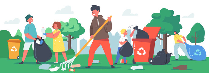 Obraz Children Characters Cleaning Garden, Garbage Recycling Concept. Ecology Protection, Social Charity Volunteers Clean Park - fototapety do salonu