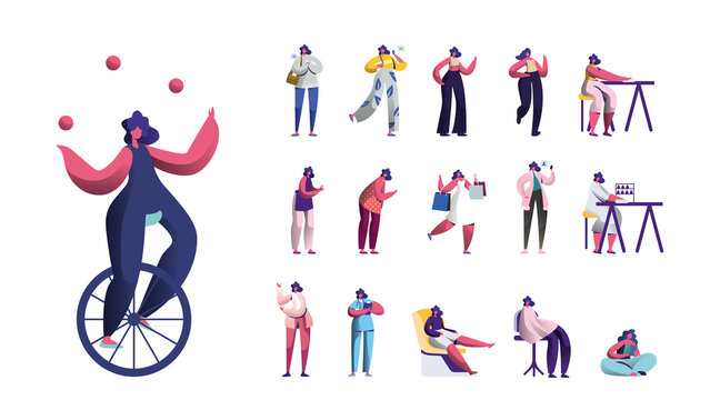 Set Female Characters Lifestyle, Young Woman Juggling with Balls on Monowheel, Girl Messaging by Smartphone, Shopping