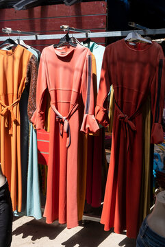 Traditional arabic women embroidered dresses sold at the bedouin market