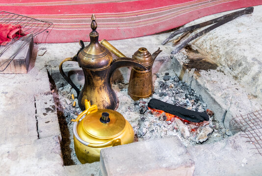 Traditional bedouin coffee and teapots inside the guests tent