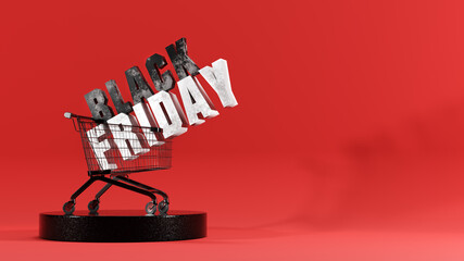 Fototapeta Black Friday ad in shopping cart obraz