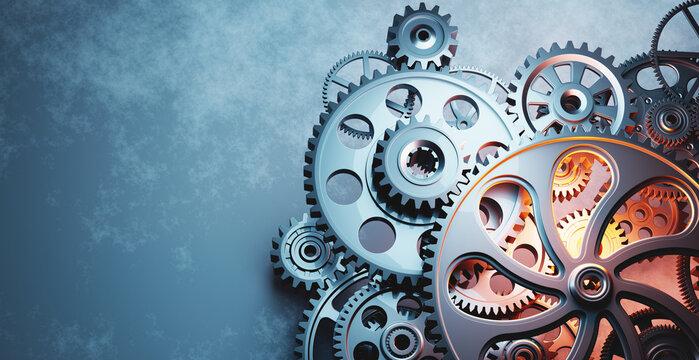 Cog wheels gear mechanism industrial background