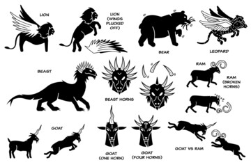 Fototapeta Daniel dream vision on The Four Beasts, The Ram, He-Goat, and Horn. Vector illustration depicts Daniel dream vision of lion with eagle wings, bear, winged leopard, ten horns beast, ram and goat. obraz