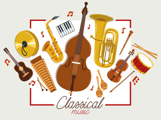 Fototapeta Classical music instruments poster vector flat style illustration, classic orchestra acoustic flyer or banner, concert or festival live sound, diversity of musical tools. obraz