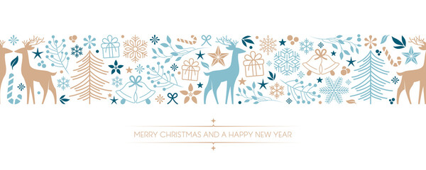 Obraz christmas card with deer berry star gift and snowflake border - fototapety do salonu