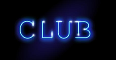 Fototapeta Club Neon Sign Vector. Night Club blue neon sign design template, light banner, dark blue led bright night advertisement, light inscription. Vector illustration isolated on black background  obraz