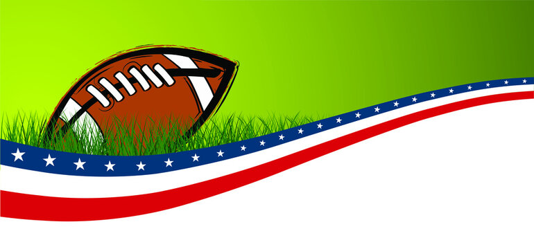 American football on green grass field. Sport team game cup. Rugby ball day. Super bowl weekend party. USA, sport finale, school games or on street. Vector template background sign. Flag pictogram