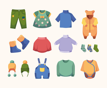 Casual clothes for kids. Little dress boots jackets hats and pants fashioned clothes garish vector illustrations set