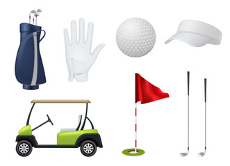 Obraz Golf equipment. Car white balls golf stick point flags grass sport bag decent vector illustrations set in realistic style - fototapety do salonu