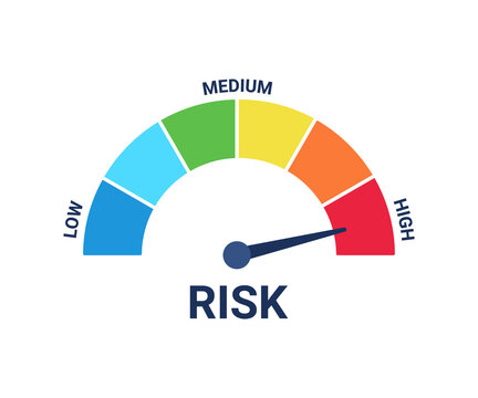 Risk scale icon with low, medium and high level hazard. Vector illustration