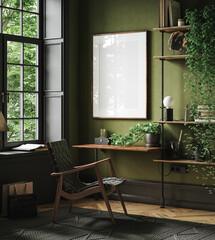 Obraz Mockup frame in home office interior background, mid-century modern style in loft, 3d render - fototapety do salonu