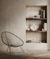 Obraz Earthy nomadic living room interior, 3d render - fototapety do salonu