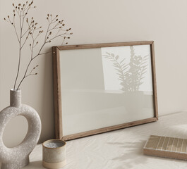 Obraz Mock up frame close up in home interior background, Boho style, 3d render - fototapety do salonu
