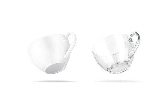 Blank ceramic and glass 7 oz tea mug mockup, no gravity