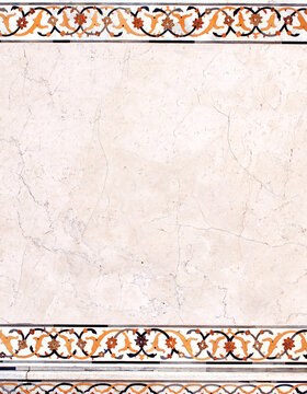 Vertical or horizontal background with ancient decorative mosaic on marble, India