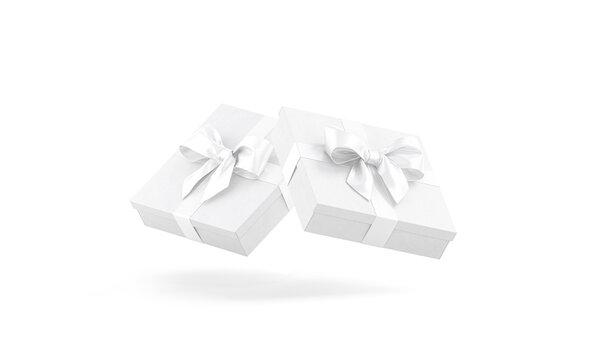 Blank white low gift box with ribbon bow mockup, no gravity