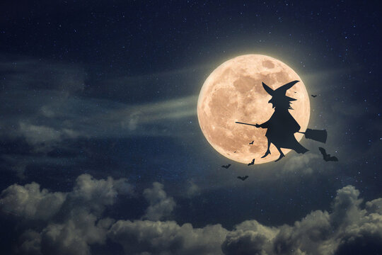 Witch on a broomstick with bats flies at night against a full moon background
