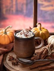Obraz Pumpkin spice latte with autumn background - fototapety do salonu