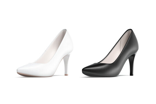 Blank black and white high heels shoes mockup, half-turned view