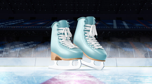 Blank ice rink surface blue skates background mockup, front view