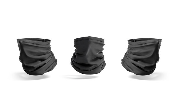 blank black neck gaiter mock up, front and side view