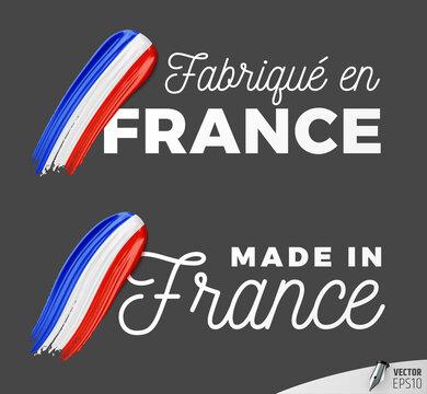 "Vector logos on a dark grey background : ""Fabriqué en France"", ""Made in France"""