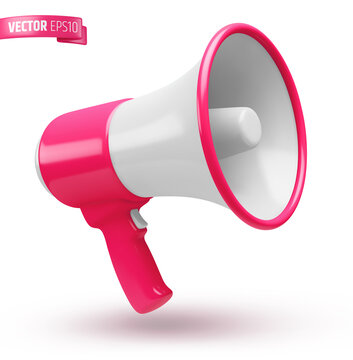 Vector realistic illustration of a pink and white megaphone on a white background.