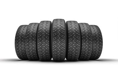 Fototapeta group of winter tires on white. obraz