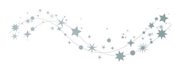 Fototapeta Sterne - dekorativer weihnachtlicher silberner Sternenschweif auf weißem Hintergrund obraz
