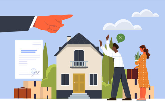 Young couple evicted from home. Businessman kicked family out of their apartment. Finger points to people from home, torn contract. Cartoon flat vector illustration isolated on white background