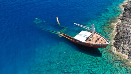 Aerial drone photo of famous shipwreck of