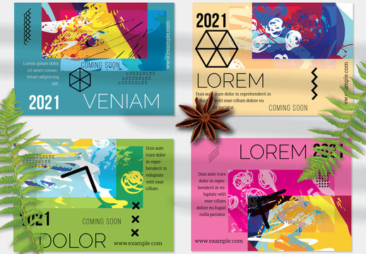 Flyer Layout with Geometric Shapes and Abstract Bright Artistic Brush Strokes