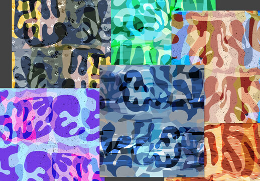 Seamless Pattern Set with Textured Shapes