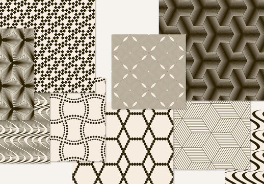 Set of Simple Retro Geometric Patterns