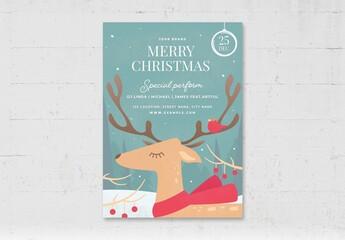 Obraz Christmas Flyer Greetings Card with Reindeer Winter Scene - fototapety do salonu