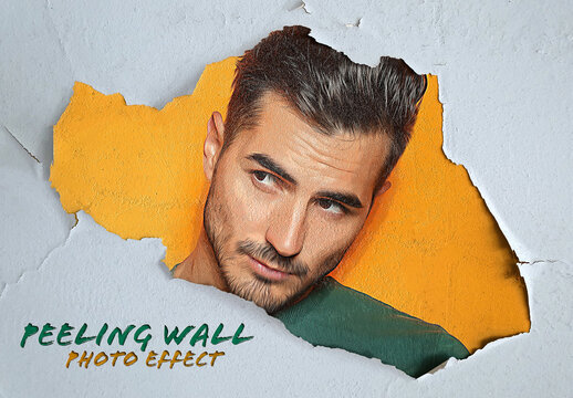 Peeling Paint Photo Effect on Wall Mockup