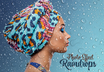 Obraz Raindrops Photo Effect Mockup - fototapety do salonu