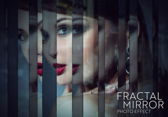 Obraz Fractal Mirror Photo Effect Mockup - fototapety do salonu